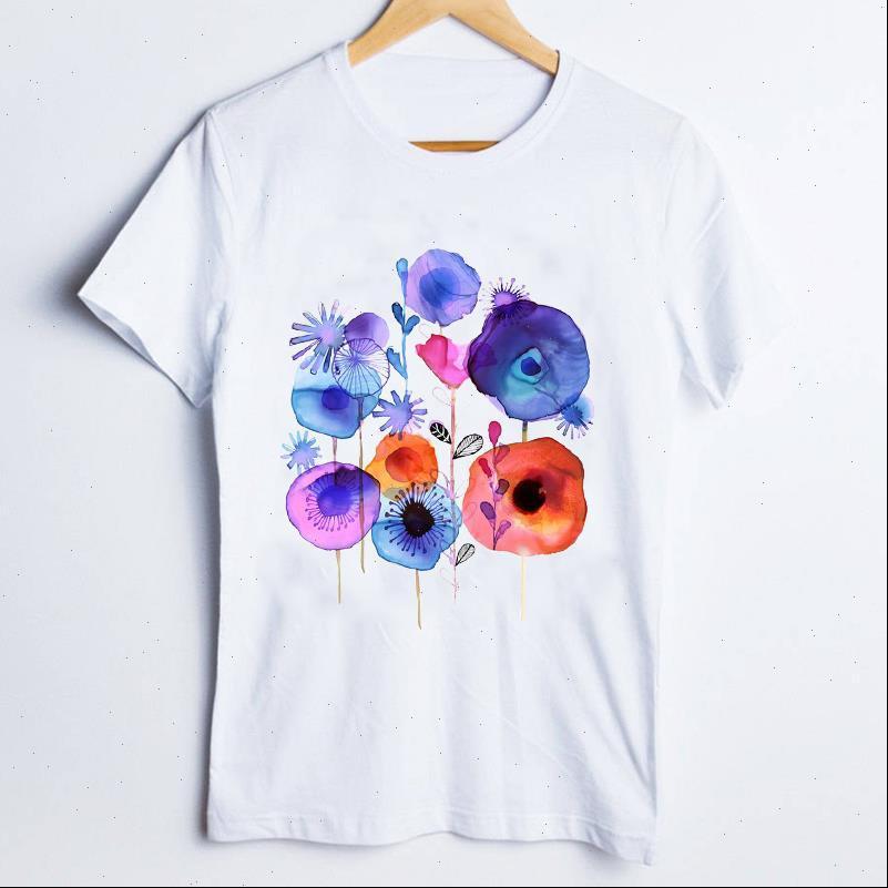 Frauen T Shirts T Shirts T Shirts für Druck Aquarell Druckpflanze Elegante Kurzarm 90er Jahre Damen Kleidung Dame Tops Kleidung Weibliche Hemd