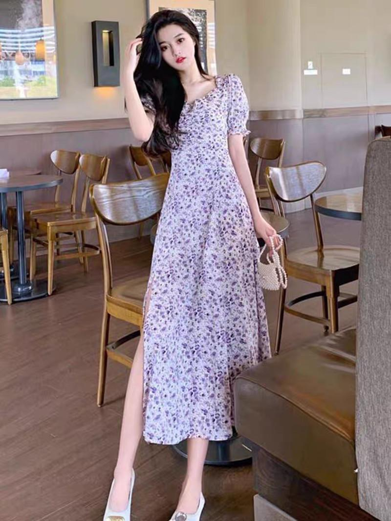 Chiffon elegante vestido roxo lado floral faixa fada slow slow sleeve colarinho quadrado emagrecimento vestido longo primavera / verão
