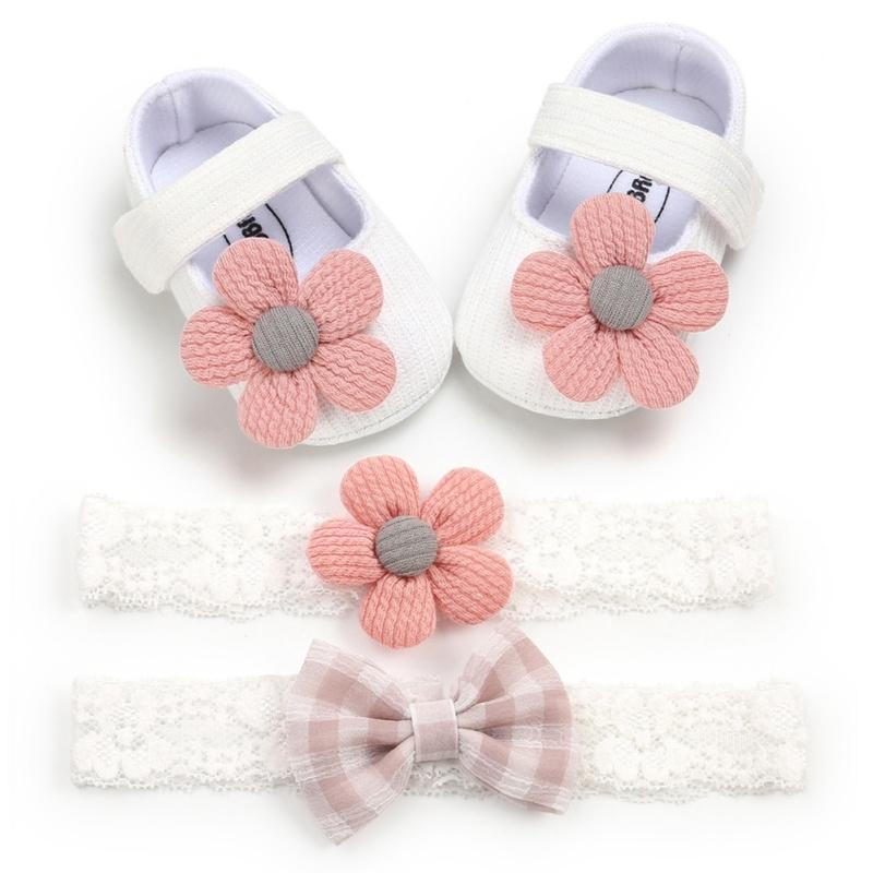 0-18M 첫 번째 워커 코튼 소프트 솔리드 유아 신발 태어난 반 안티 슬립 스니커즈 활 2 개 모자웨어 파티가있는 아기 소녀