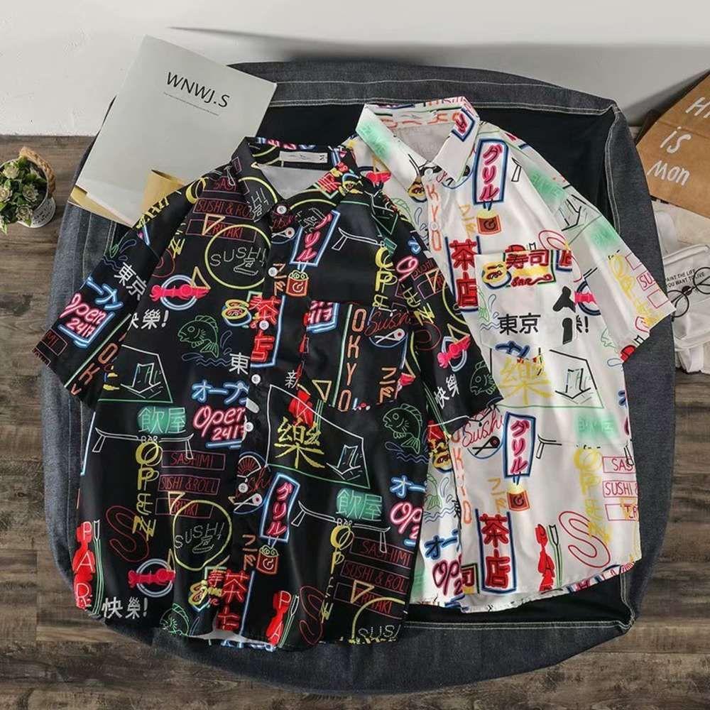 Chemise polyvalente Shirtsummer avec impression chaude Tokyo et mode coréenne à manches courtes Harajuku