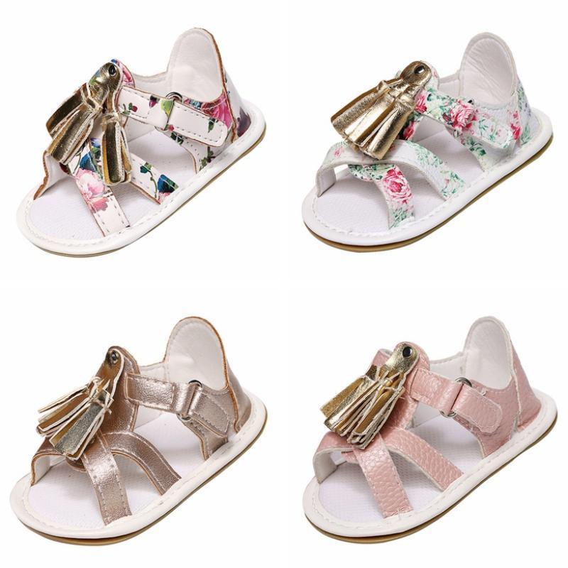 여름 귀여운 소녀 PU 작은 프라이팬 샌들 아기 부드러운 편안한 단일 신발 태어난 고무 유아 어린이