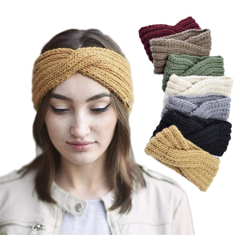 Новейшие девушки вязаные повязки повязки тюрбан вязание крючком вязание крючком по головным отдыхам зимнее ухо теплые головы упругие волосы полосы женщины волос аксессуары для волос 64 z2
