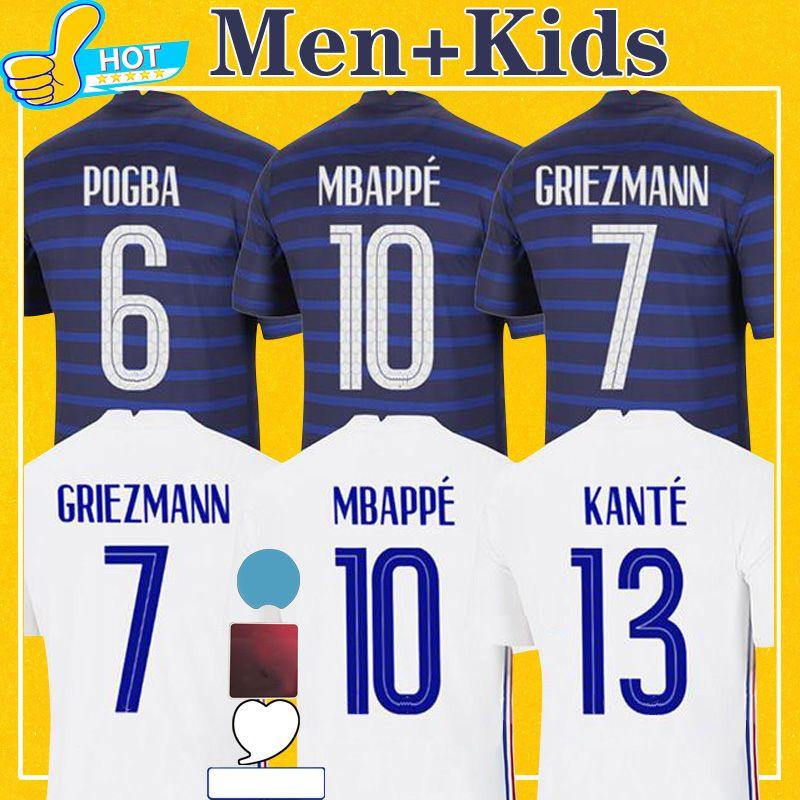 فرنسا Soccer Jersey 2021 الصفحة الرئيسية Mbappe Girour Grizmann Martial Kimpembe 21 22 Equipe de Men Kids Kit