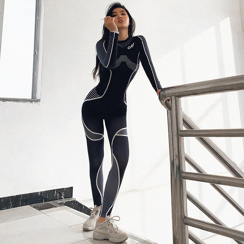 Femmes d'automne et d'hiver Sports d'hiver Fitness Leggings à la taille haute Haute manches longues One Morceau Yoga Black Yoga Gym Sweatpants