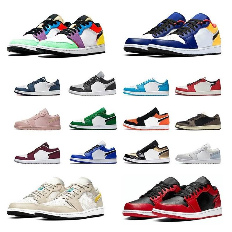 [With Box] Low 1 1s Men Basketball shoes Varsity Red Paris shadow UNC Chicago Tropical brown Outdoor Sports Sneakers Mens Trainers 2021#