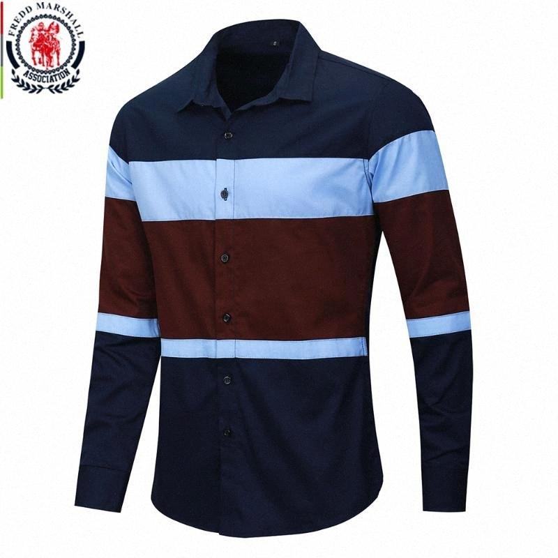 Fredd Marshall 2020 Homens Socio Social Casual Slim Fit Color Block Manga Longa Patchwork Stripe Camisa 100% Algodão Chemise Homme Z60e #