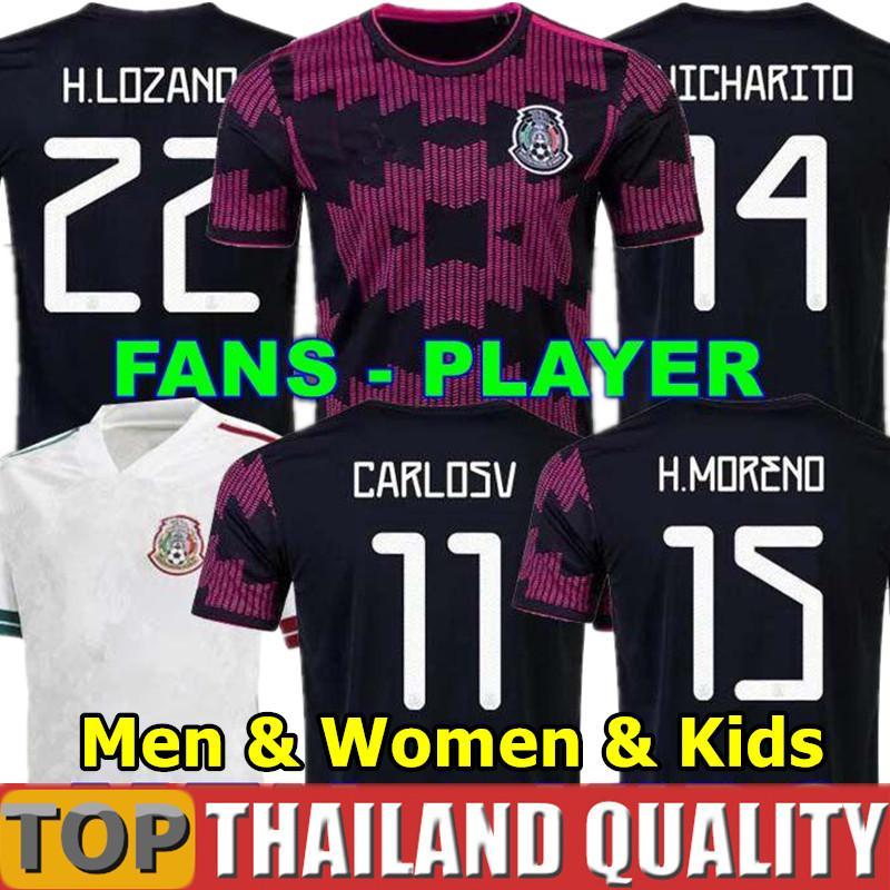 멕시코 축구 유니폼 홈 Copa America Fans 선수 버전 20 21 chicharito lozano dos Santos 2021 축구 셔츠 세트 남성 여성 키트 키트 유니폼