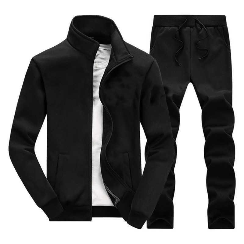 Erkek Spor Takım Elbise Kış Sonbahar Basketbol Koşu Katı Renk Pamuk Büyük Boy Spor Seti Run Spor Sıcak Erkekler Jogging Suits X0610