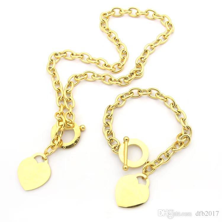 디자이너 쥬얼리 사랑 큰 심장 팔찌 목걸이 18K 실버 T 목걸이 장미 골드 플래티넘 럭셔리 여자 크리스마스 선물 3 색