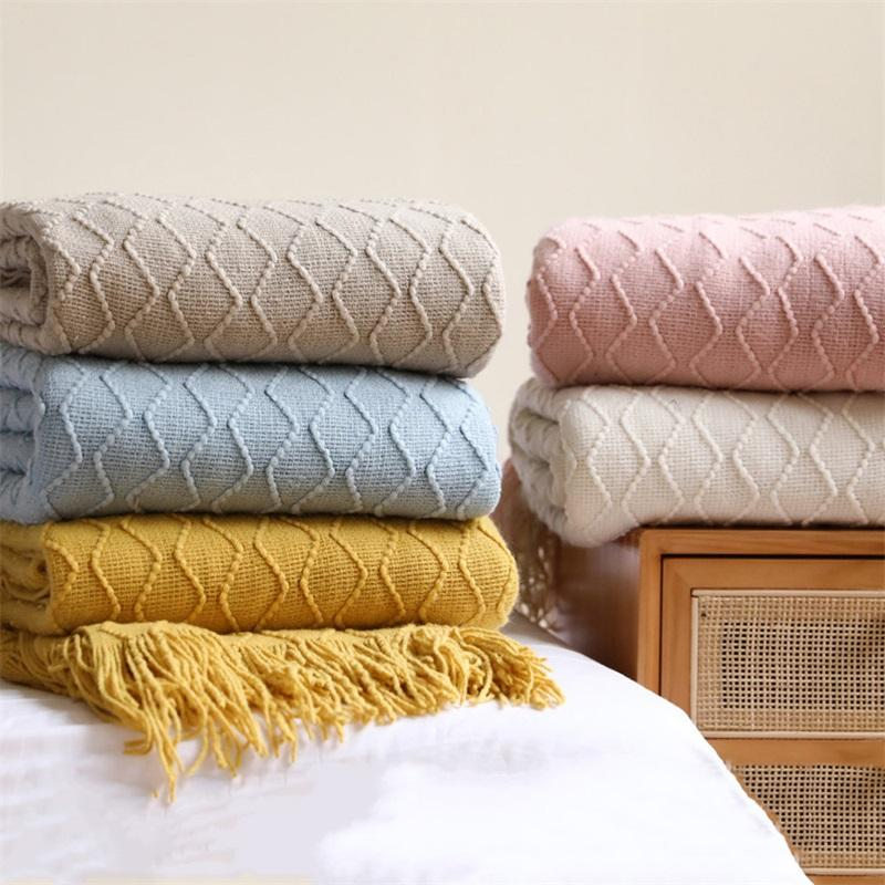 Blankets Swaddling Cobertor De Malha Nordic Soild Cor Sofa Lance Com Borlas Viagem Tv Nap Cobertores Ar Condicionado Cama Decor 2529 Y2