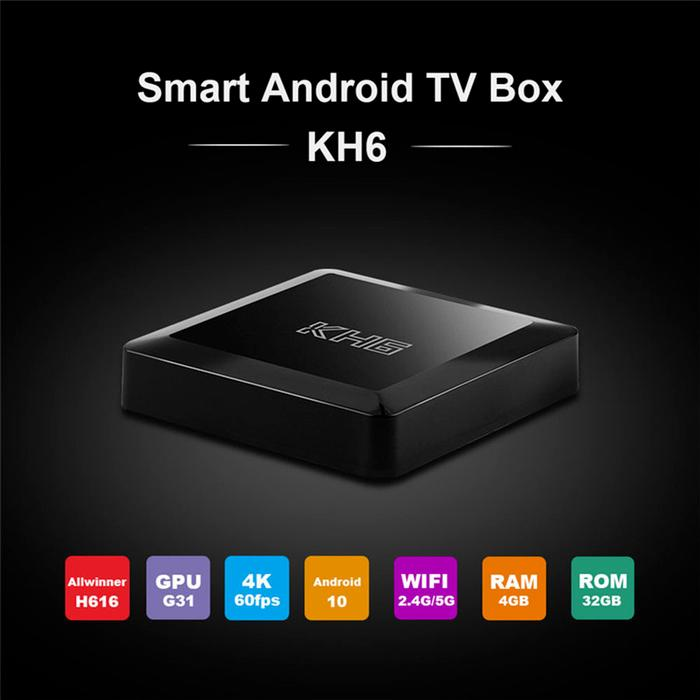 2021 Mecool KH6 Android 10 TV Box 4GB RAM 32GB ROM Allwinner H616 2.4G 5G WiFi 4K HD Bluetooth Smart Set Top