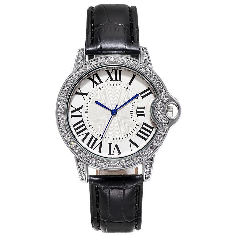 أعلى نمط الفاخرة النساء الساعات أزياء الجلود الفرقة التناظرية الكوارتز المعصم السيدات الماس السيدات ووتش ساعة relogio feminino