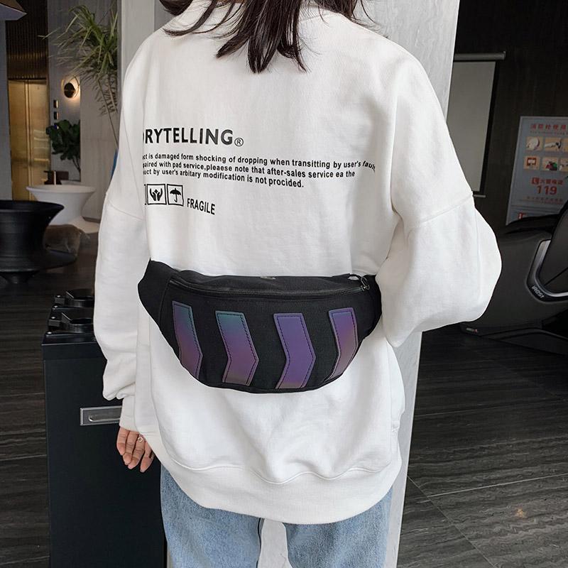 Bel Çantaları Yansıtıcı Erkekler Çanta Yüksek Kaliteli Tuval Kemer Kadın Sokak Hip Hop Fanny Paketi Omuz Crossbody Göğüs