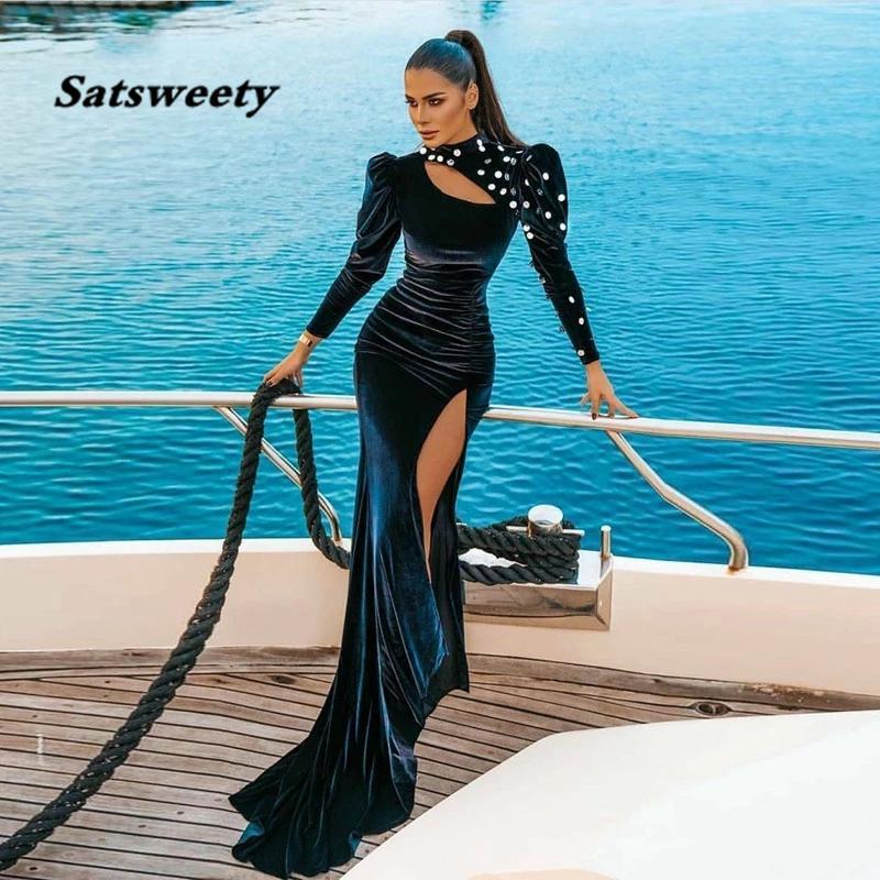 Arabic Evening Dresses High Neck Beaded Side Split Velvet Long Sleeves Prom Gown Party Dress abendkleider 2021 dubai