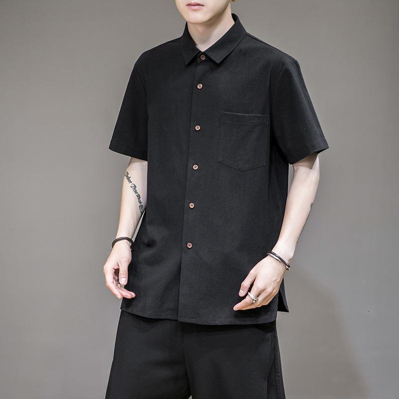 Verão novo estilo chinês curto japonês solto quadrado colarinho casual meia manga cardigan camisa masculina
