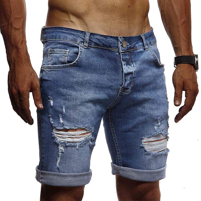 2021 Euro Erkekler Holed Rahat Şort İngiliz Moda Denim Capris
