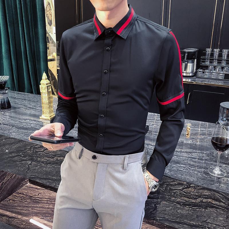 camisetas Modo de design alterado manga comprida listrado para roupas masculinas 2021 clube simples fino fino casual smoking preto homme suéter wnat