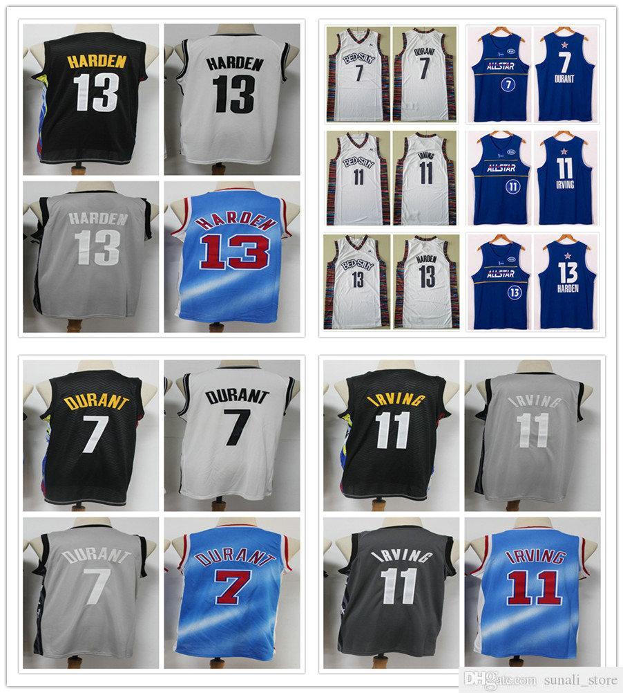 Shisted Men Kevin 7 Durant Irviving 11 Кири Джеймс 13 Орденные трикотажные изделия Баскетбол 2021 Город Черный Белый Серый Серый Звездный Синий Колледж Спортивные Рубашки