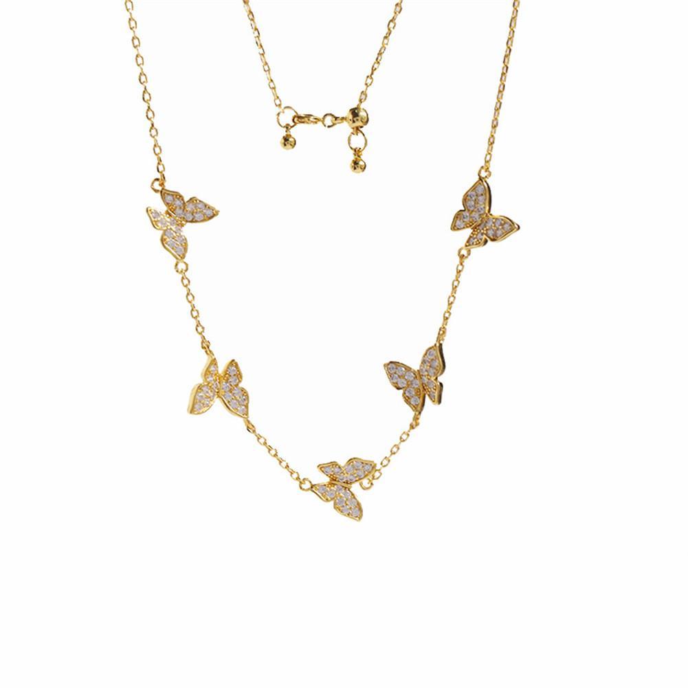 2021 Mode Exquisite Diamant Quatre feuilles Pendentif papillon Crystals Clavicule Chaîne Collier 18k Or pour Van Womengirls Wedding Saint Valentin