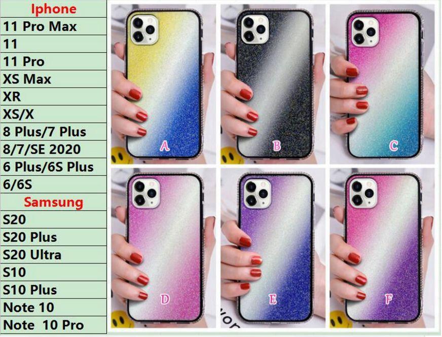 Capas de gradiente para Samsung S20 Ultra S10 Plus Note 10 Pro Diamond Bling Sparkle Rígido Plástico + TPU Pérola Cristal Glitter Luxo Shinny Covers
