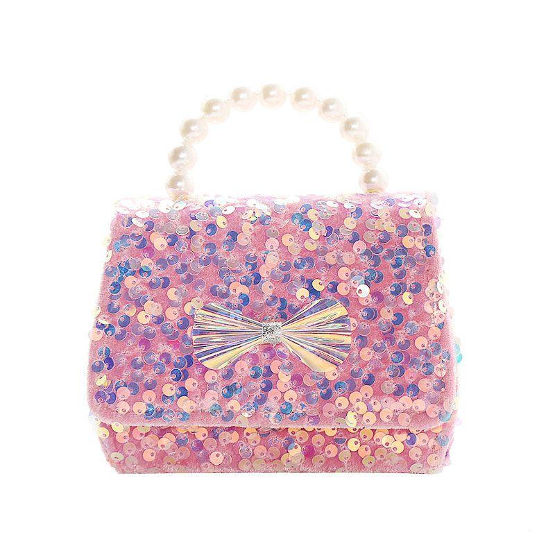 أطفال بنات لطيف الأميرة الترتر القوس لؤلؤة سلسلة رسول حقيبة يد مصممي أكياس حقيبة crossbody حقيبة واحدة تغيير محفظة