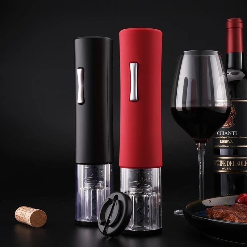 Abridor de garrafa de vinho elétrico conjunto automático de saca-rolhas com rolha de pouner e cortador de folha acessórios de vinho tinto 210319