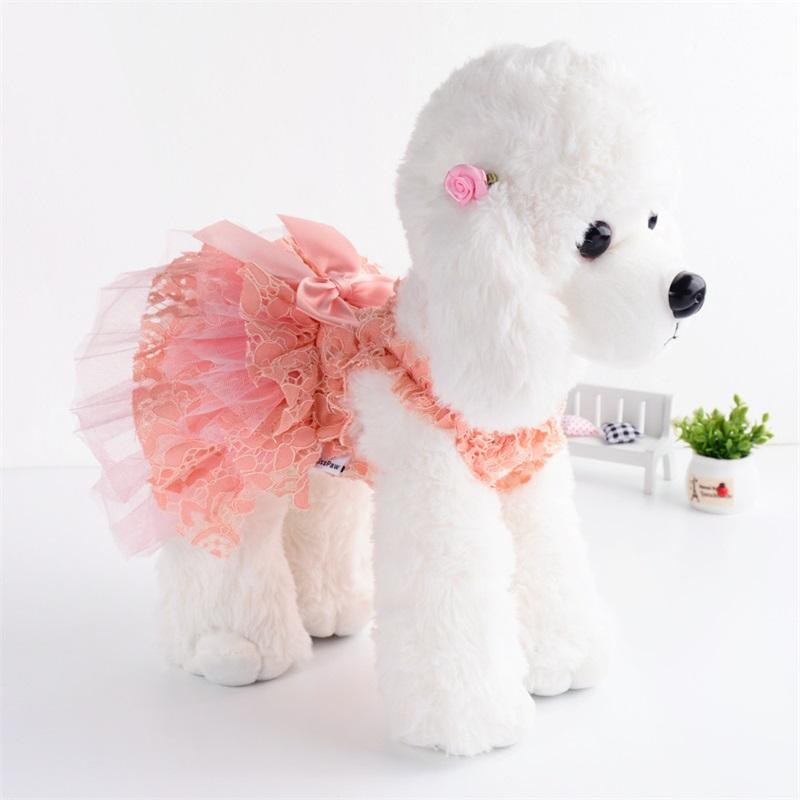 Lace Pet Dress Small Dog Clothes Princess Cat Dress Party Dog Wedding Dress Tutu Skirt Puffy Sleeves Yorkshire Terrier Clothing 1322 T2