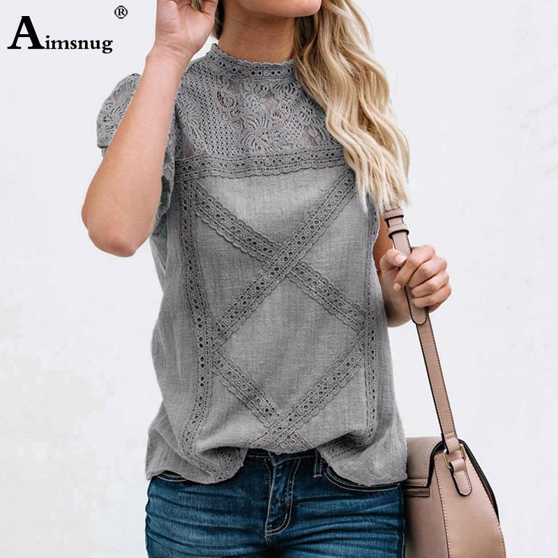 Aimsnug Donne Bianco Elegante T-Shirt T-Shirt T-Shirt Patchwork Femminile O-Collo Scava fuori Camicia 2021 Summer New Solid Casual Womens Tops