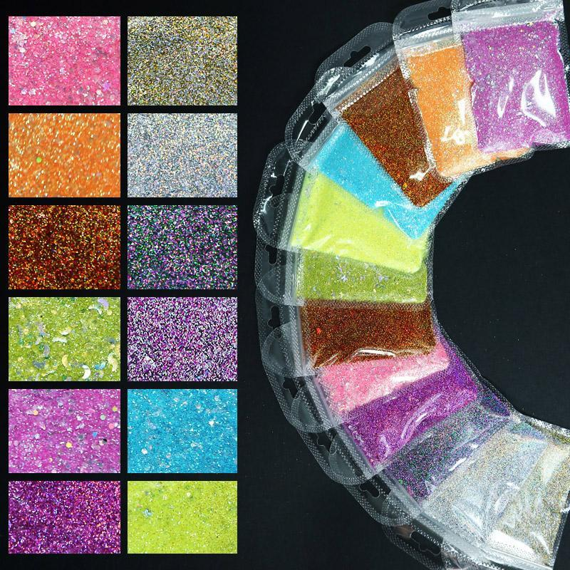 5G / Bag Nail Art Holographic Decorazione fai da te Symphony The Moon and Stars Glitter Laser Aurora Decorazioni colorazioni magiche