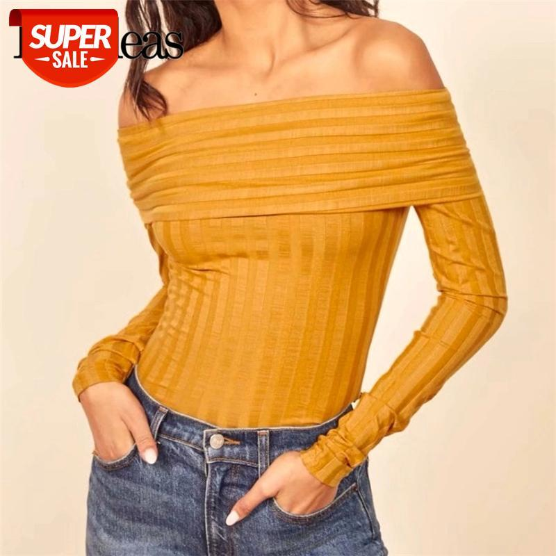 Escritório amarelo manga comprida blusas mujer de moda 2019 vintage magro off ombro mulheres blusa básica casual blusas # t48j