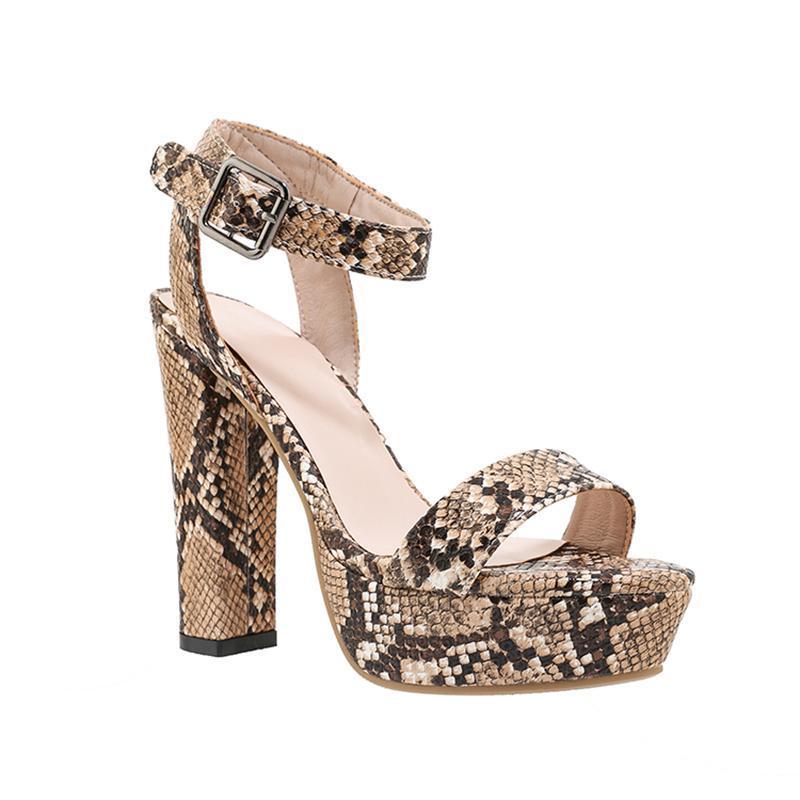 Ankle Strap Stiletto High Heels Peep Toe Leopard Block For Women Summer Sandals Platform Shoes