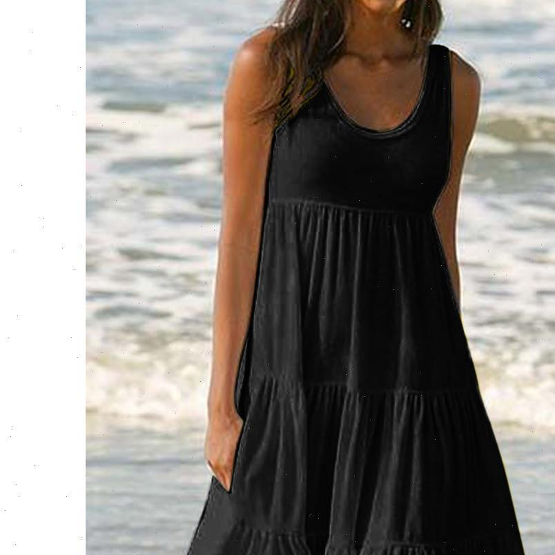 H30 Fashion Women Dresses Summer dress large size loose simple sleeveless womens clothing Solid Color Beach