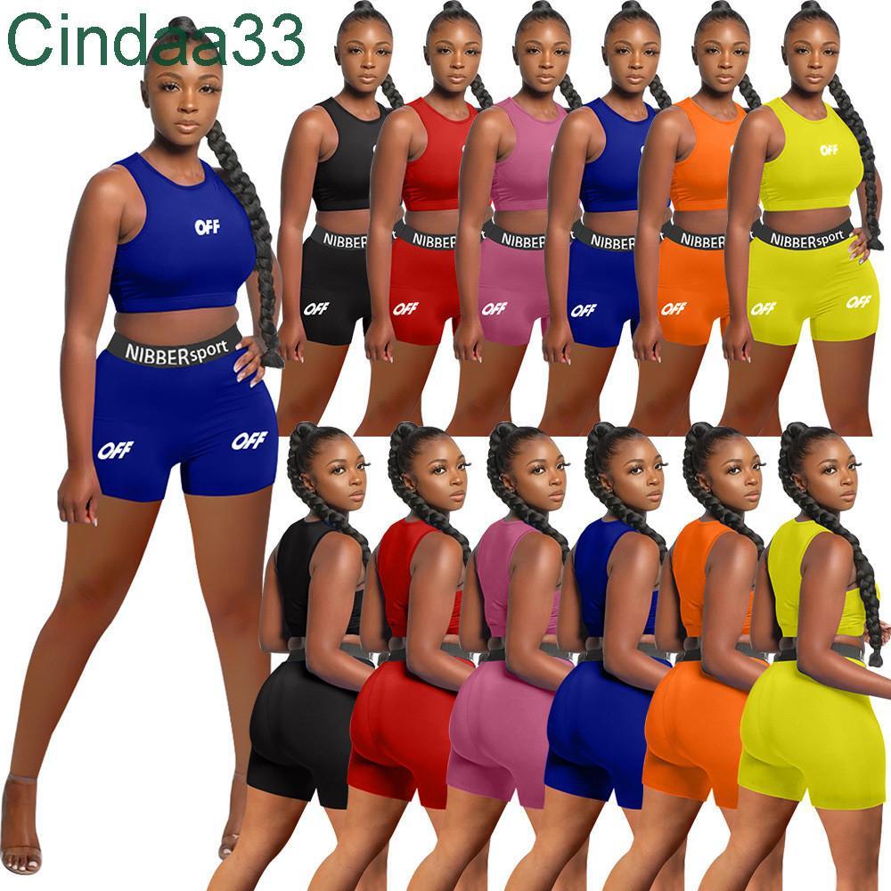 Kadın Eşofman İki Adet Set Tasarımcı Ince Seksi Katı Renk Ekip Boyun Yelek Şort Ofset Mektuplar Baskılı Rahat Spor Suit Sportwear