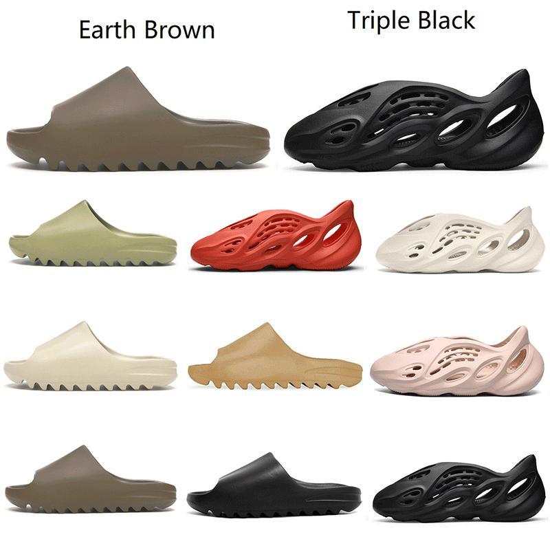 2021 Kanye Çöl Kum Slaytlar Erkek Kadın Terlik En Kaliteli Siyah Reçine Kemik Dünya Kahverengi Saf Erkek Ararat Tan Üç Kişi Kırmızı Slayt Açık Plaj Sandalet Boyutu 36-45 K8FP #