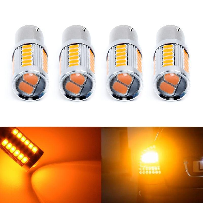 4x 1156 BAU15S PY21W LED Car Bulbs Amber Giallo 33SMD 5730 5630 LED ad alta potenza Direzione del segnale di direzione Lampadina Car-styling