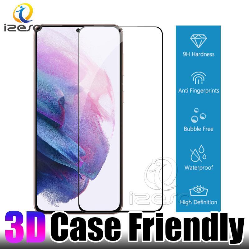 Case Dostu Ekran Koruyucu Samsung Galaxy S21 Artı Not 20 Ultra S20 S10 Parmak İzi Kilidini Kıvrımlı HD Temizle Temperli Cam Film Izeso