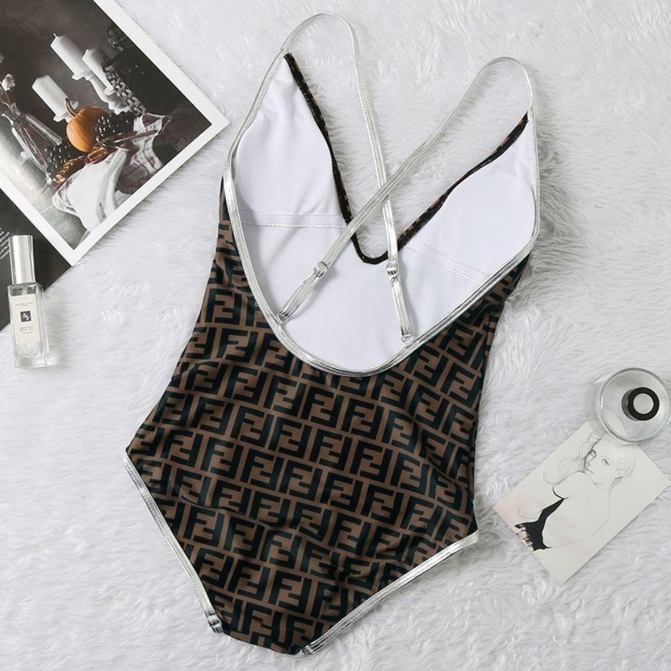 Diseñador de lujo bikini de una pieza traje de baño hembra cubierta delgado delgado delgado con ajuste de letras de ajuste sexy crossover de encaje hacia arriba sin espalda profundo cuello en v