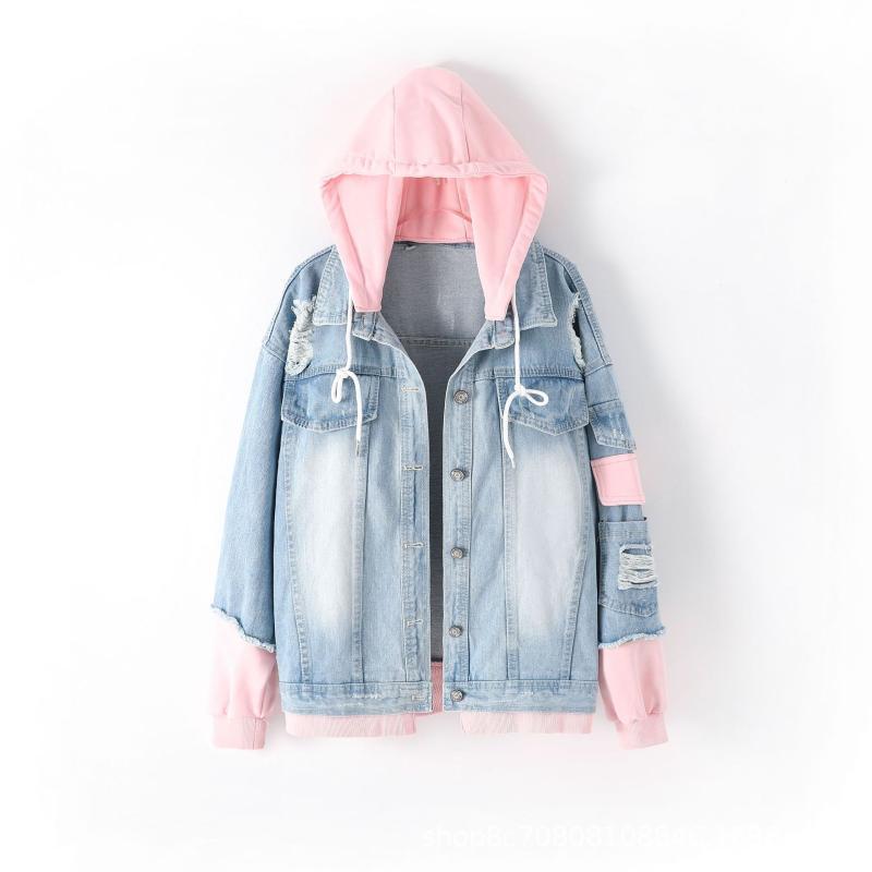 Primavera Capuz jaqueta jeans para mulheres casuais bf jeans buracos vintage harajuku casaco feminino solto streetwear casacos básicos casacos femininos