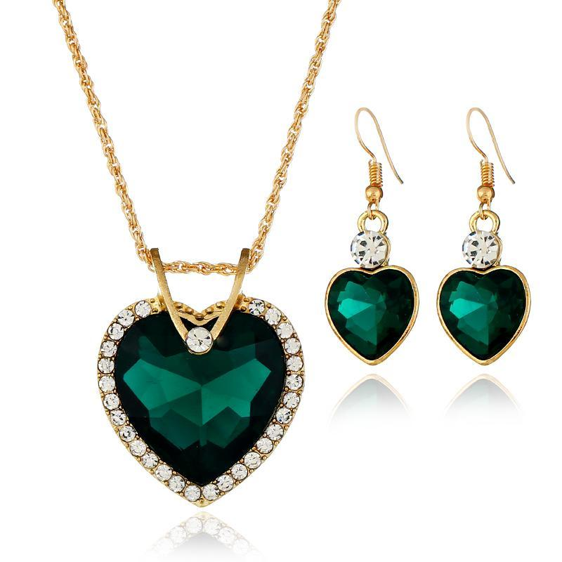 Earrings & Necklace Unique Simple Design Heart Shape Crystal Pendant Set Bride Wedding Performance Fashion Women's Accessories