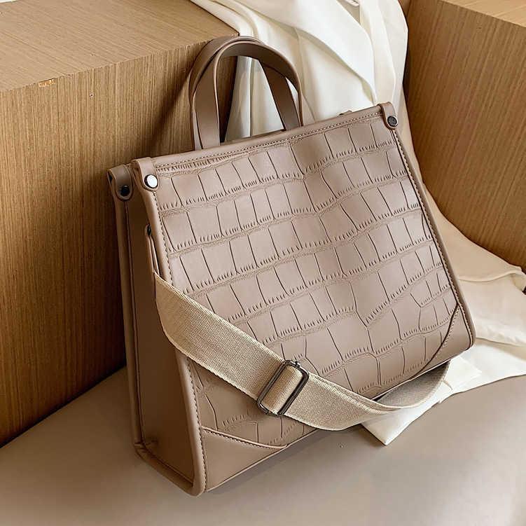 Luxurys Bags Designer Tote Bag Branded crossbody Shoulder_bag Handbag Stone Pattern Pu Leather Women Large Capacity Wide Band Female Should