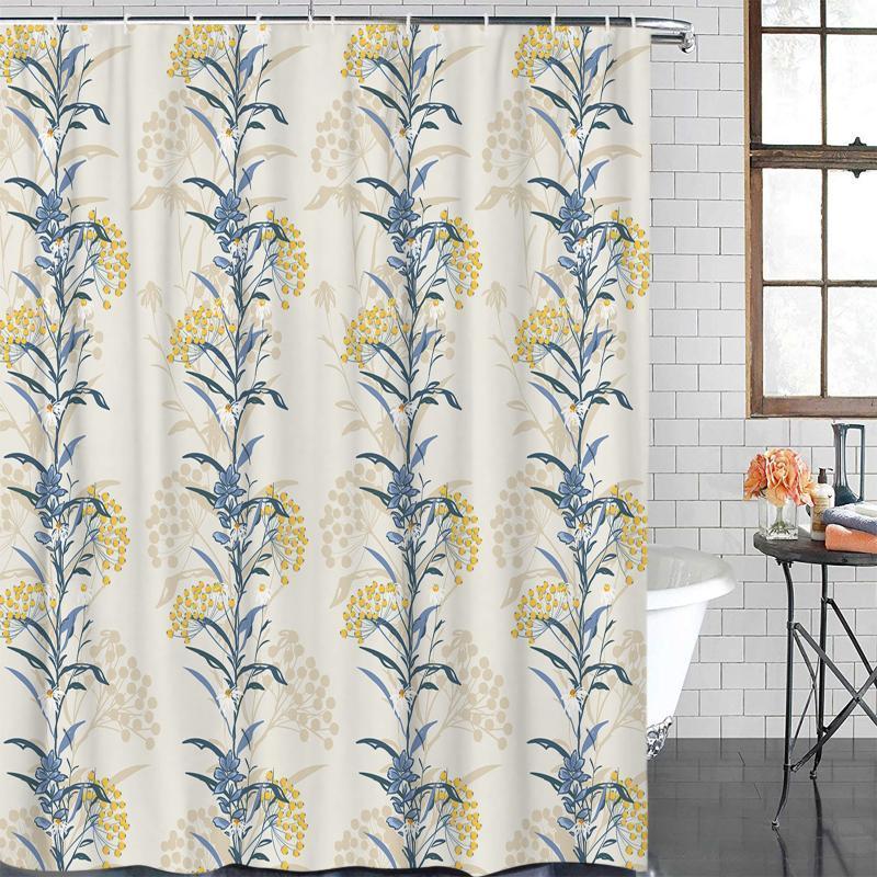 Duschvorhänge Sommer Blume Pflanze Vorhang Polyestergewebe Badezimmer Wohnkultur Wasserdicht mit Haken