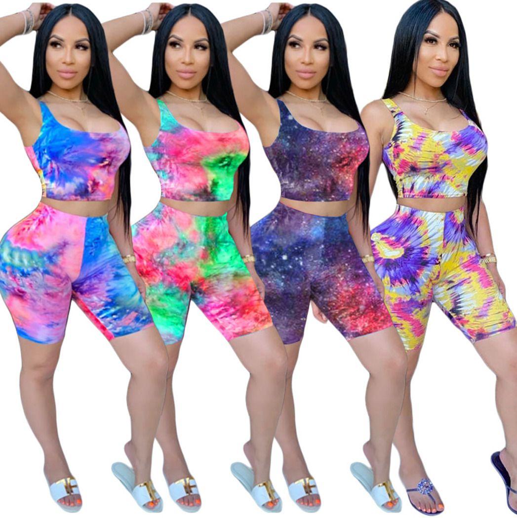 S-3XL plus size summer women tracksuit Fashion Ladies two piece shorts set tie-dyed printed casual sports suit 2 piece set