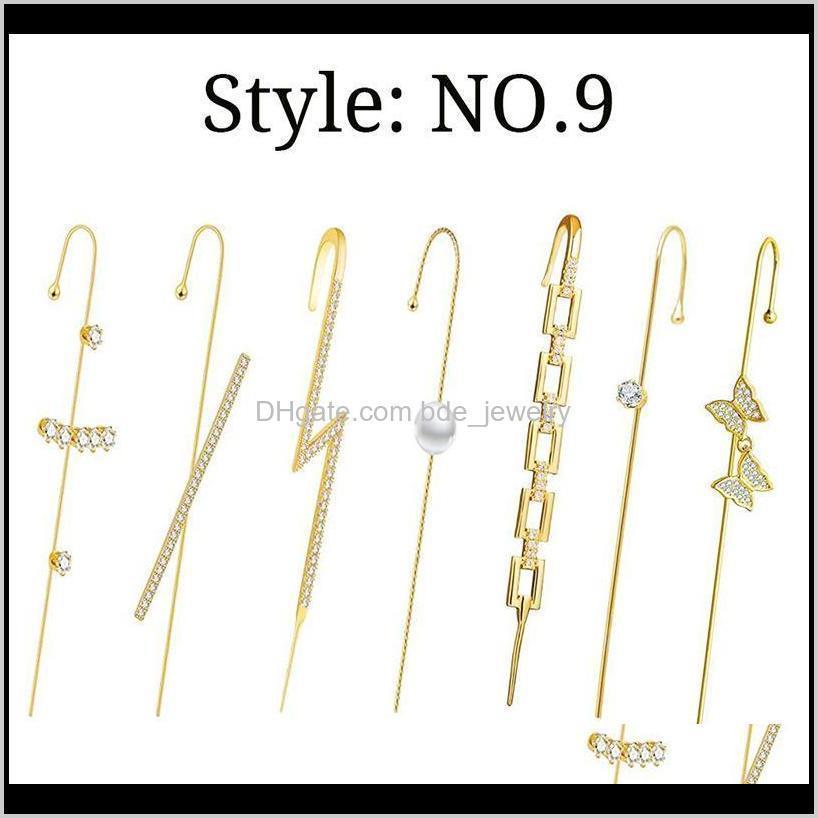 مسمار Jewelry2021 Fashion Cler الأذن صفعة التفاف هوك أقراط الزينة للنساء LL @ 17 قطرة التسليم 2021 RTVQS
