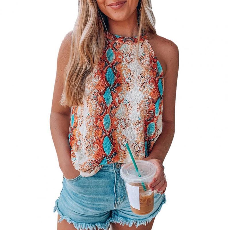2021 Camiseta para mujer Sexy Top Snake Print Raglan Sin mangas Cuello redondo Blusa suelta Tees Mujeres Camisetas
