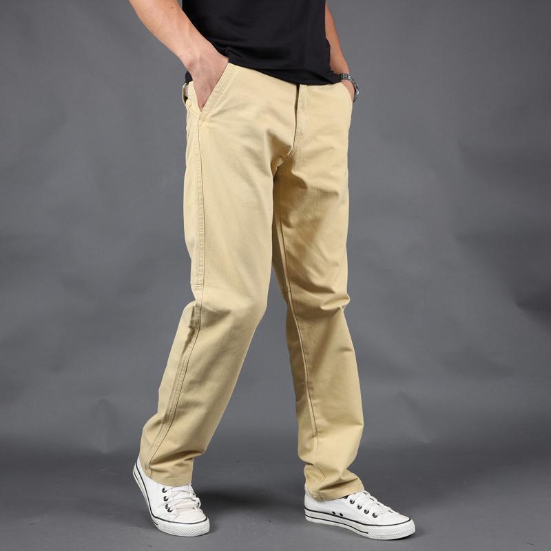 Хлопок грузовые брюки Мужчины карманные из кармана двери полная длина мужчины простые черные хаки прямые брюки homme свободно случайный мужской