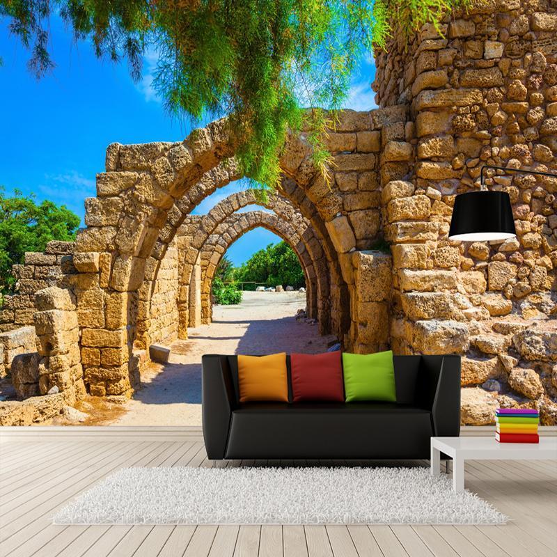 Обои Po Стерео арки Каменные кирпичные стены Стены Стены гостиной столовая творческая ткань ткань Papele de Parede 3D