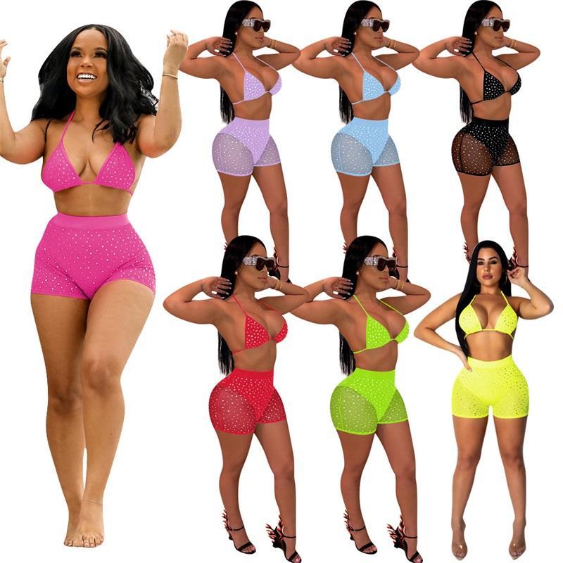 Kadın İki Parçalı Kıyafetler Mayo Pullu Push Up Sutyen See-throom Shorts Setleri Tops Yaz Bikini Mayo Seksi Clubwear Spor 564 Y2