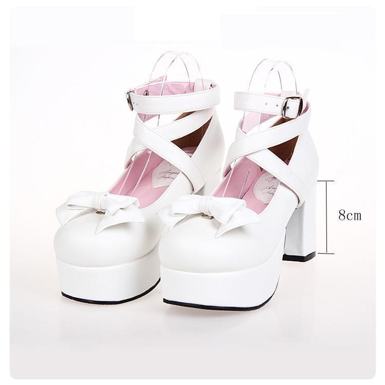 Robe Chaussures Angéliques Mentions légales Haute Talons Lolita Round Toe Bowknot Pu En Cuir Femmes Pompes Taille 35-39 9812