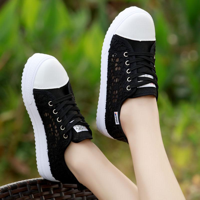 Primavera e outono coreano baixo top sapatos de lona para estudantes de denim feminino
