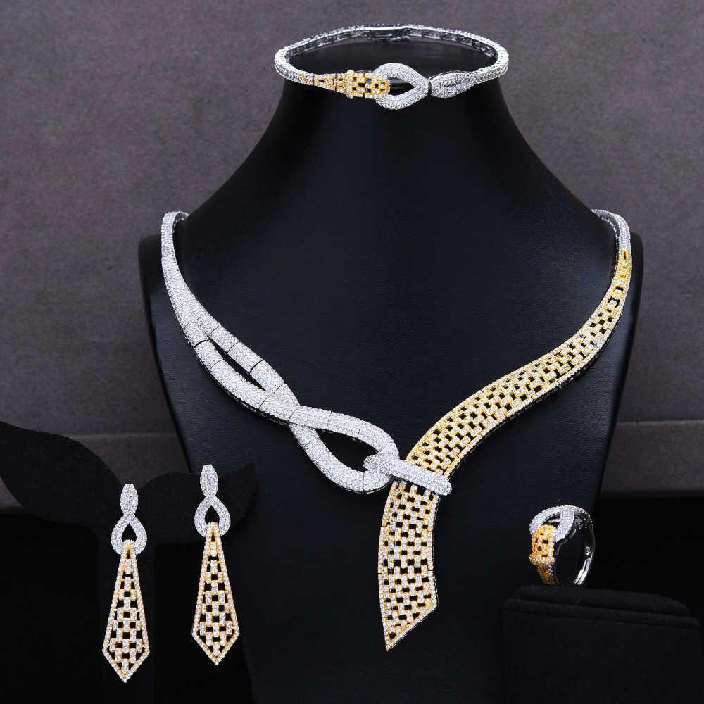 MISSVIKKI 2020 Yeni Tasarım Lüks Zarif 4 ADET Küpe Zincir Mücevherat Set Kadınlar için Romantik Gelin Bahis Nişan Mücevherat
